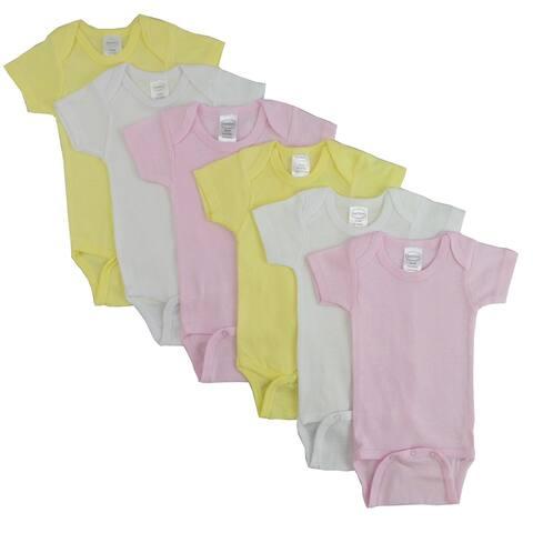 "Pack of 6 Vibrant Comfortable Bambini Pastel Girls Short Sleeve - New Born, 8"""