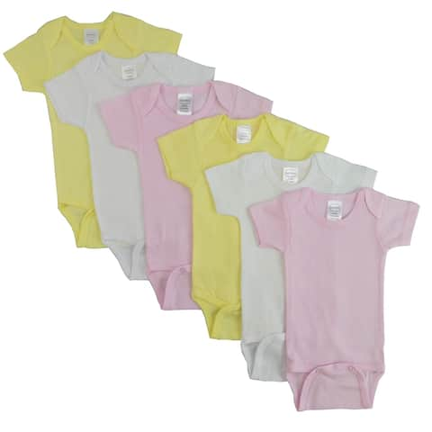 """Set of 6 Baby Girl Yellow, Pink and White Short Sleeve Onesies - Small, 8"""""""