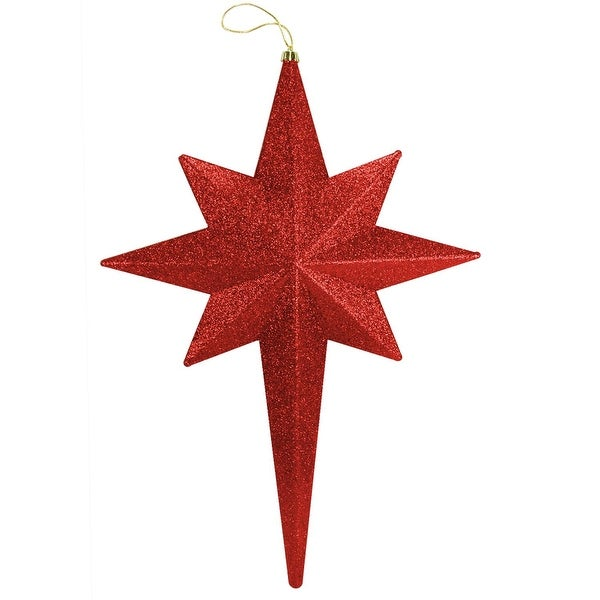 "20"" Red Hot Glittered Bethlehem Star Shatterproof Christmas Ornament"