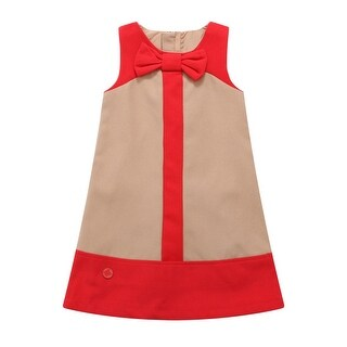Richie House Baby Girls Tan Red Paneled Bow Dress 12M