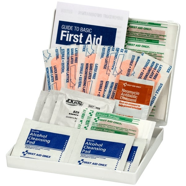 Ow-Wee Kid's First Aid Kit-White Plastic Travel Case W/29 Pieces