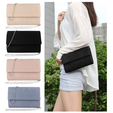 Suede Clutch Bag for Women Over Shoulder Cross Body Style with Chain