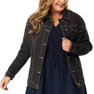 Link to Women Plus Size Stitching Button Front Washed Denim Jacket Similar Items in Suits & Suit Separates