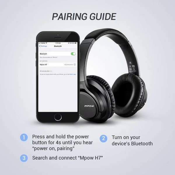 Shop Mpow H7 Bluetooth Headphones Stereo Wireless Over Ear Headset With Microphone For Cellphone Tablets Pc Tv Overstock 21112437