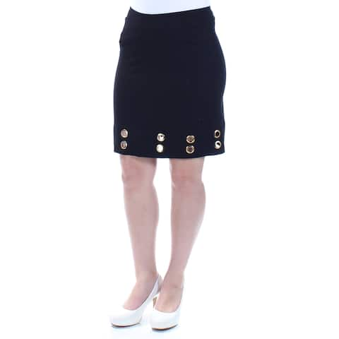 KENSIE Womens Black Eyelet Above The Knee Pencil Skirt Size: S