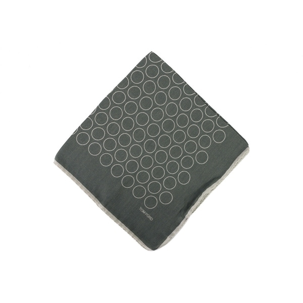 Tom Ford Mens Two Tone Grey Outlined Circles Pocket Square - One size