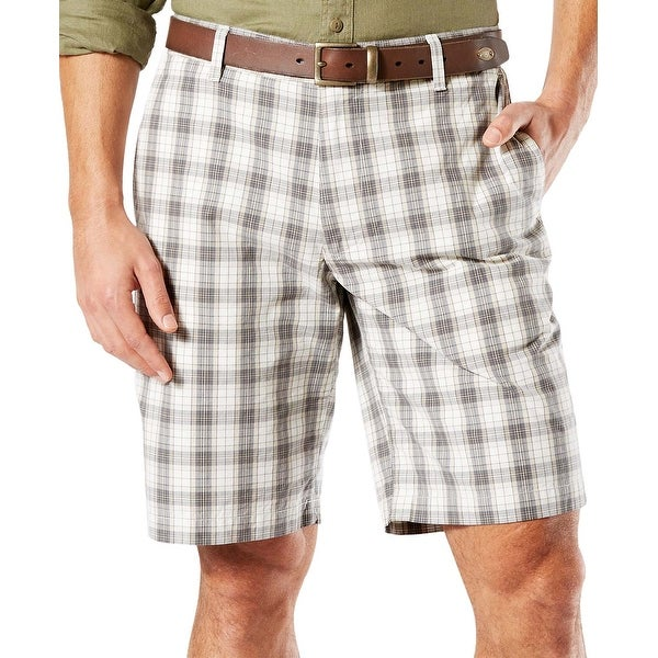 cfa88b898d9d Shop Dockers Perfect Classic Fit Flat Front Short 42 Grey and White Plaid  10