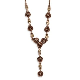 Copper Lt. Colorado & Brown Crystal Y Necklace - 15in