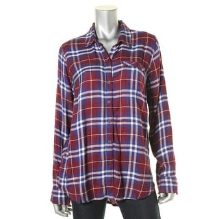 Lucky Brand Womens Flannel Plaid Button-Down Top - M