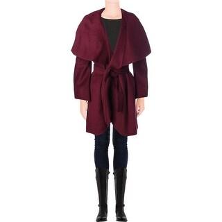 T Tahari Womens Plus Marla Wool Oversized Coat