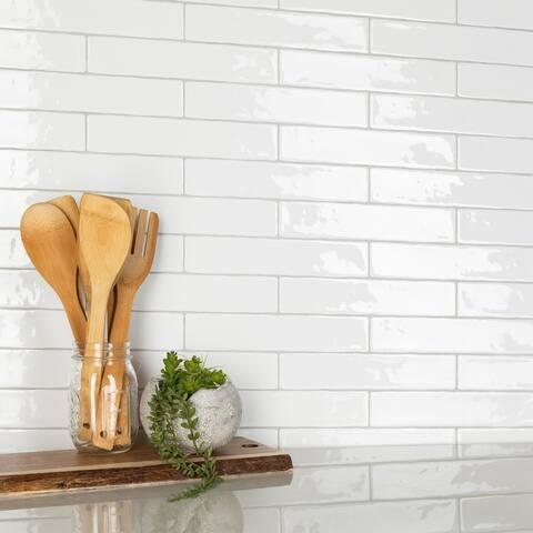 SomerTile Chester Bianco 2 in. x 10 in. Ceramic Wall Tile - 2'' x 10''