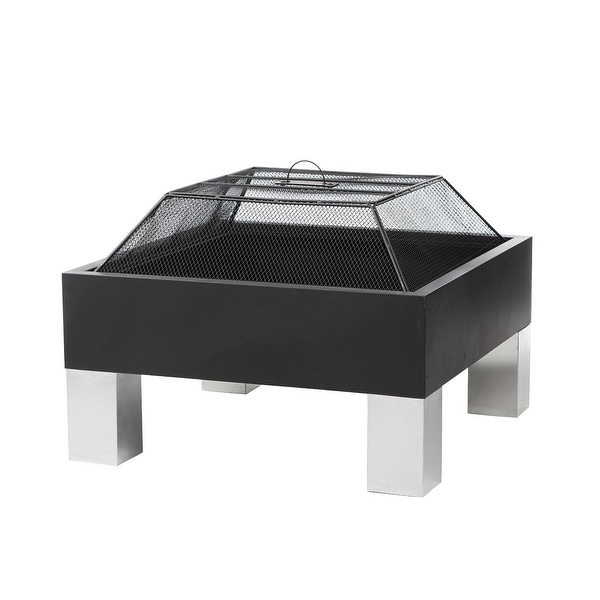 Fire Sense 60454 Outdoor Square Fire Pit - Black