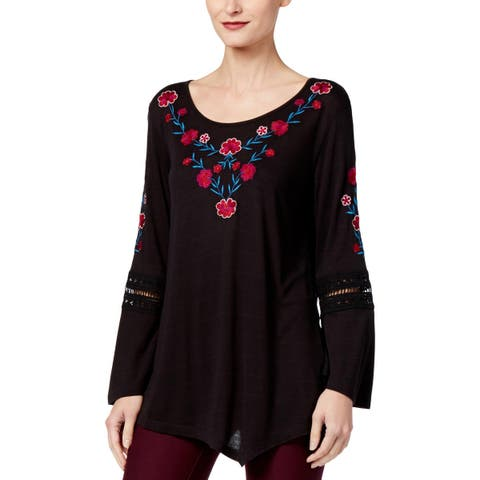 NY Collection Womens Tunic Top Lace Bell Sleeves