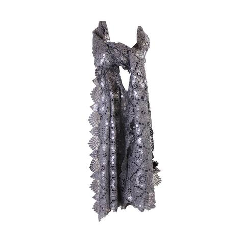 Cejon Silver Metallic Clover Sequin Evening Wrap OS