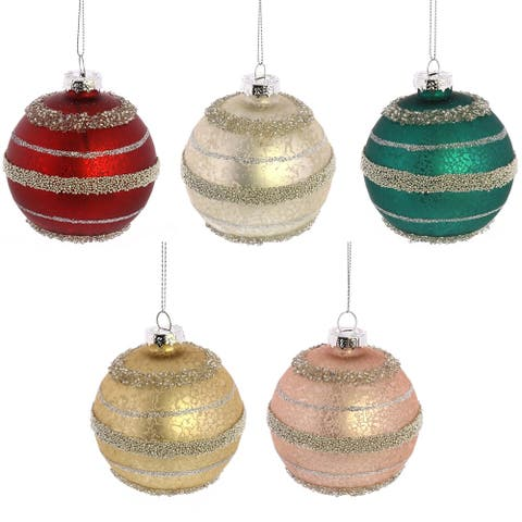 Glass Ornaments with Loop and String, Set of 5, Multicolor