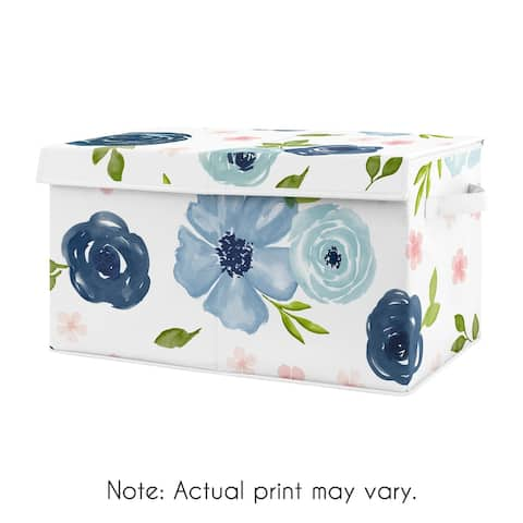 Navy Blue Watercolor Floral Collection Girl Kids Fabric Toy Bin Storage - Blush Pink, Green and White Shabby Chic Rose Flower