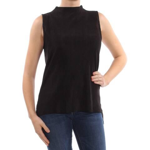CATHERINE MALANDRINO Womens Black Textured Sleeveless Top Size: M