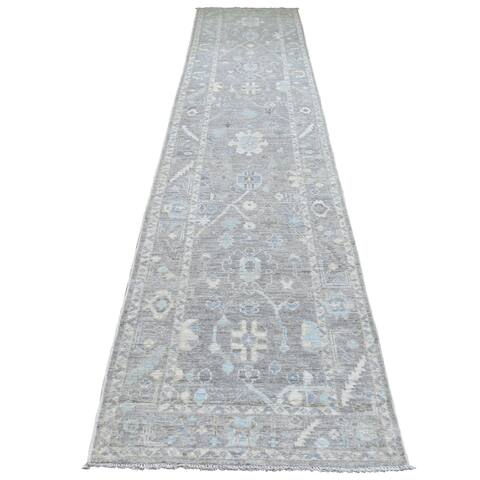 """Shahbanu Rugs Oushak with Floral Motifs All Over Design Pure Wool Gray Hand Knotted Runner Oriental Rug (2'10"""" x 13'7"""")"""
