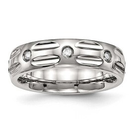 Stainless Steel Polished Grooved CZ Ring (6 mm) - Sizes 6 - 13