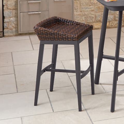 Merauke Carbon Resin Wicker and Aluminum Bar Stool by Havenside Home