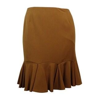 Nine West Women's Solid A-Line Flounce Hem Skirt
