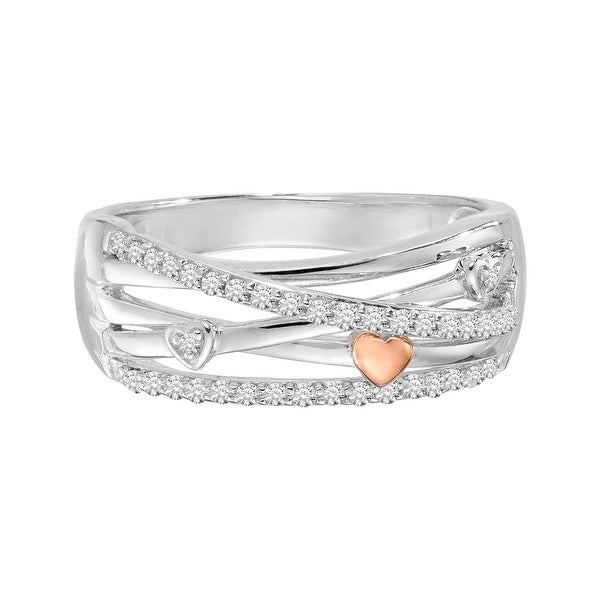 1/5 ct Diamond Crisscross Ring in Sterling Silver and 14K Rose Gold