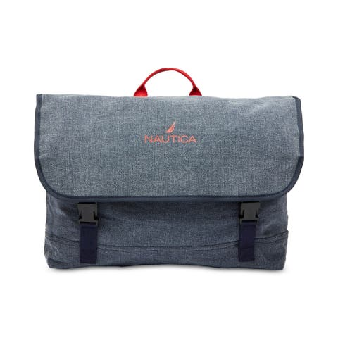 Nautica Mens Canvas Messenger Bag, blue, One Size - One Size