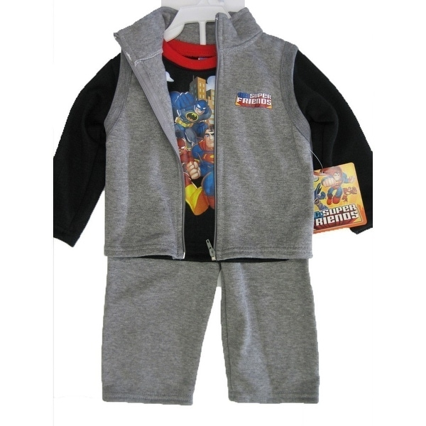 Marvels Baby Boys Grey Black Justice League Vest Shirt 3 Pc Pants Set 12-24M