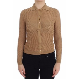 Dolce & Gabbana Dolce & Gabbana Beige Knitted Cotton Polo Cardigan Sweater - it36-xs