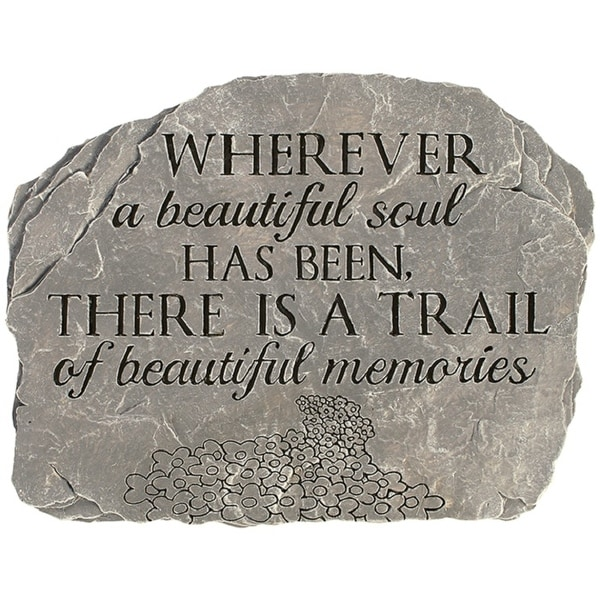 """10.50"""" Grey and Black Beautiful Soul Slate Garden Stepping Stone - N/A"""
