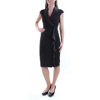 AMERICAN LIVING $89 Womens New 1318 Black Ruffled V Neck Cap Sleeve Dress 2 B+B