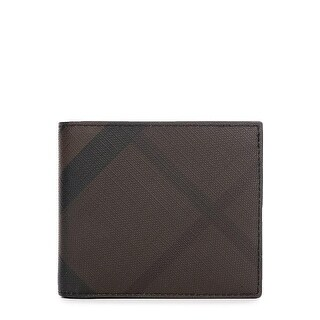 Burberry Men's Black Brown Check Leather Bifold Wallet