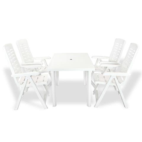vidaXL 5 Piece Outdoor Plastic Foldable Garden Furniture Set