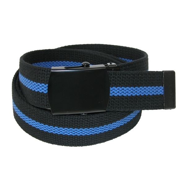 CTM® Men's Fabric Adjustable Belt with Blue Center Line - one size