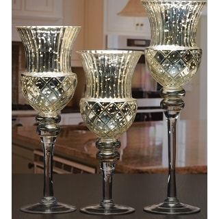 Palais Glassware Elegant Bougeoir Collection, Set of 3 Hurricane Candle Holders (Fusion Silver)