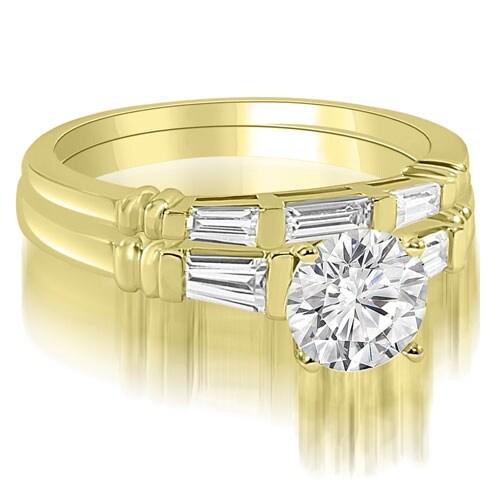 1.00 cttw. 14K Yellow Gold Round And Baguette Cut Three Stone Diamond Bridal Sett,HI,SI1-2