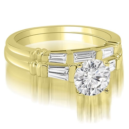 1.50 cttw. 14K Yellow Gold Round And Baguette Cut Three Stone Diamond Bridal Sett,HI,SI1-2