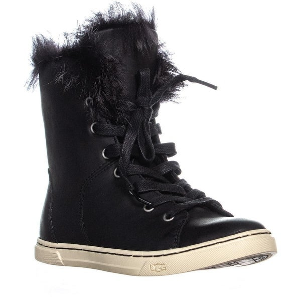 c73fa345ab6 Shop UGG Croft Sheepskin Lace Up Fashion Sneakers, Black - On Sale ...