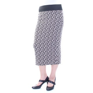 CHELSEA SKY Womens Black Slitted Striped Midi Pencil Skirt  Size: M