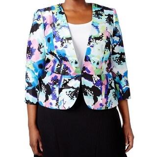 Kasper NEW Blue Multi Print Women's Size 20W Plus Blazer Career Jacket