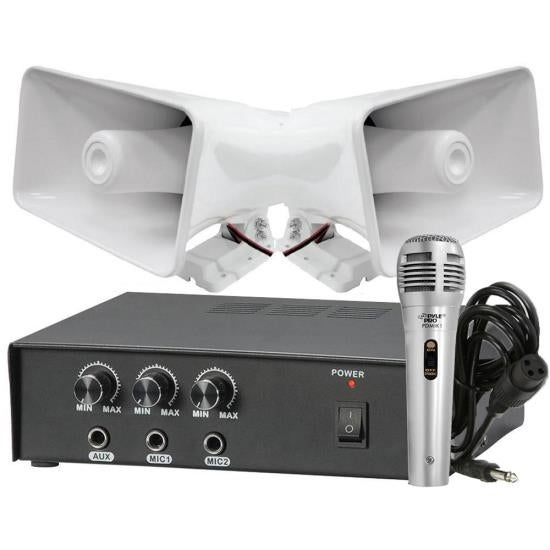 Pyle 50 Watt PA Power Amplifier W/ Pair of 8'' Indoor / Outdoor 65 Watt PA Horn Speakers & Handheld Microphone w/ 6.5ft Cable