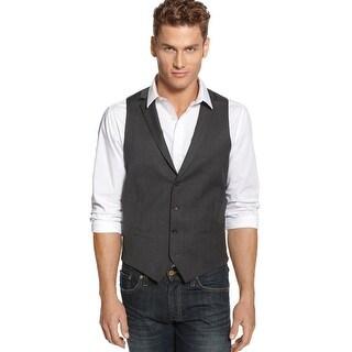 Alfani Slim Fit Lapel Vest Dark Grey 46 Regular 46R Wool Red Label Button Front