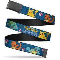 Blank Black  Buckle Pokemon Kanto Starters Gotta Catch 'Em All Blue Web Belt