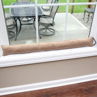 """Home District Faux Suede Draft Dodger - Weighted Door/Window Breeze, Bug and Noise Guard Stopper Blocker - 36"""" Long"""