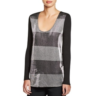 Three Dots Womens Pullover Top Metallic Striped