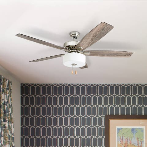 Porch & Den Mead Brushed Nickel 60-inch LED Reversible Blade Ceiling Fan w/ Pull-chains - 60