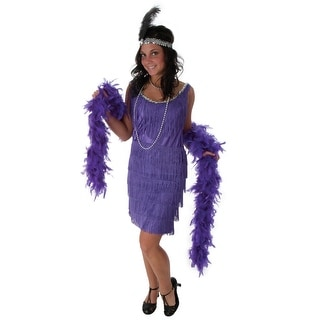 Plus Size Purple Fringe Flapper Dress (Option: 5x)