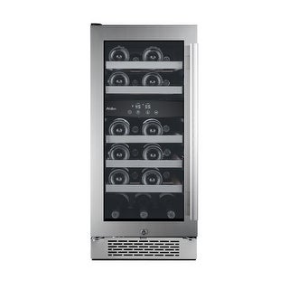 "Avallon AWC151DZLH 15"" Wide 23 Bottle Capacity Dual Zone Wine Cooler with Left Swing Door - STAINLESS STEEL - N/A"
