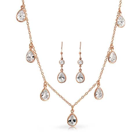 Dangling Pear Shaped Cubic Zirconia Teardrop CZ Fashion Statement Necklace Earring Set For Women Rose Gold Plated Brass