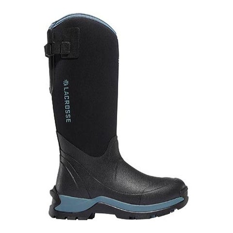 "LaCrosse Women's Alpha Thermal 14"" 7mm Boot Black/Cerulean Neoprene"
